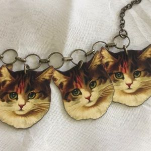 Vintage look Cat head necklace ModCloth